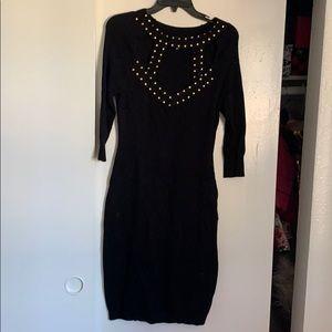 Open front 3 quarter sleeve sweater dress